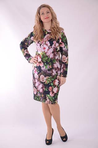 Платье Пл 164-6 приталенное, по колено, цветное с 3-D принтом
