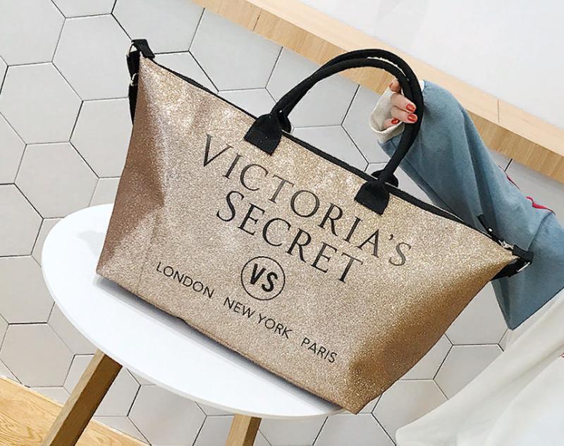 1478c05400f5d Сумка большая с блестками золотистая Victoria's Secret 1720- купить ...