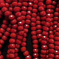 """Бусины """"рондель"""" хрустальные на нитке d-6 мм стекло полу матовый цвет красный рябиновый L-41см"""