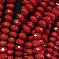 """Бусины """"рондель"""" хрустальные на нитке d-8 мм стекло полу матовый цвет красный рябиновый L-41см"""