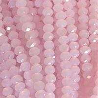 """Бусины """"рондель"""" хрустальные на нитке (стекло) полу матовое цвет холодный розовый L -37см d-3,5мм"""