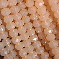 """Бусины """"рондель"""" хрустальные на нитке d-8 мм стекло полупрозрачный цвет розовый """"сатин"""" L-41см"""
