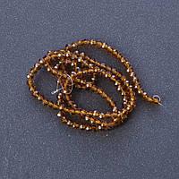 """Бусины """"рондель"""" хрустальные на нитке (стекло) прозрачное цвет коричневый L -37см d-3,5мм"""