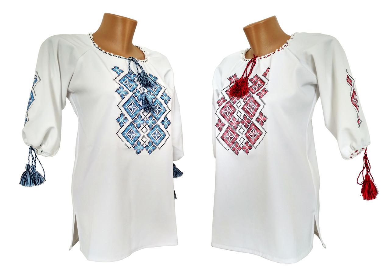 Женская вышиванка в белом цвете с геометрическим орнаментом «Праздничная»