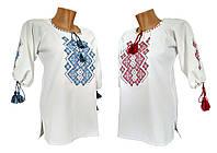 Женская вышитая блуза белого цвета с рукавом 3/4 «Праздничная», фото 1