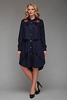 Женское платье-рубашка   Троя синего цвета, фото 1