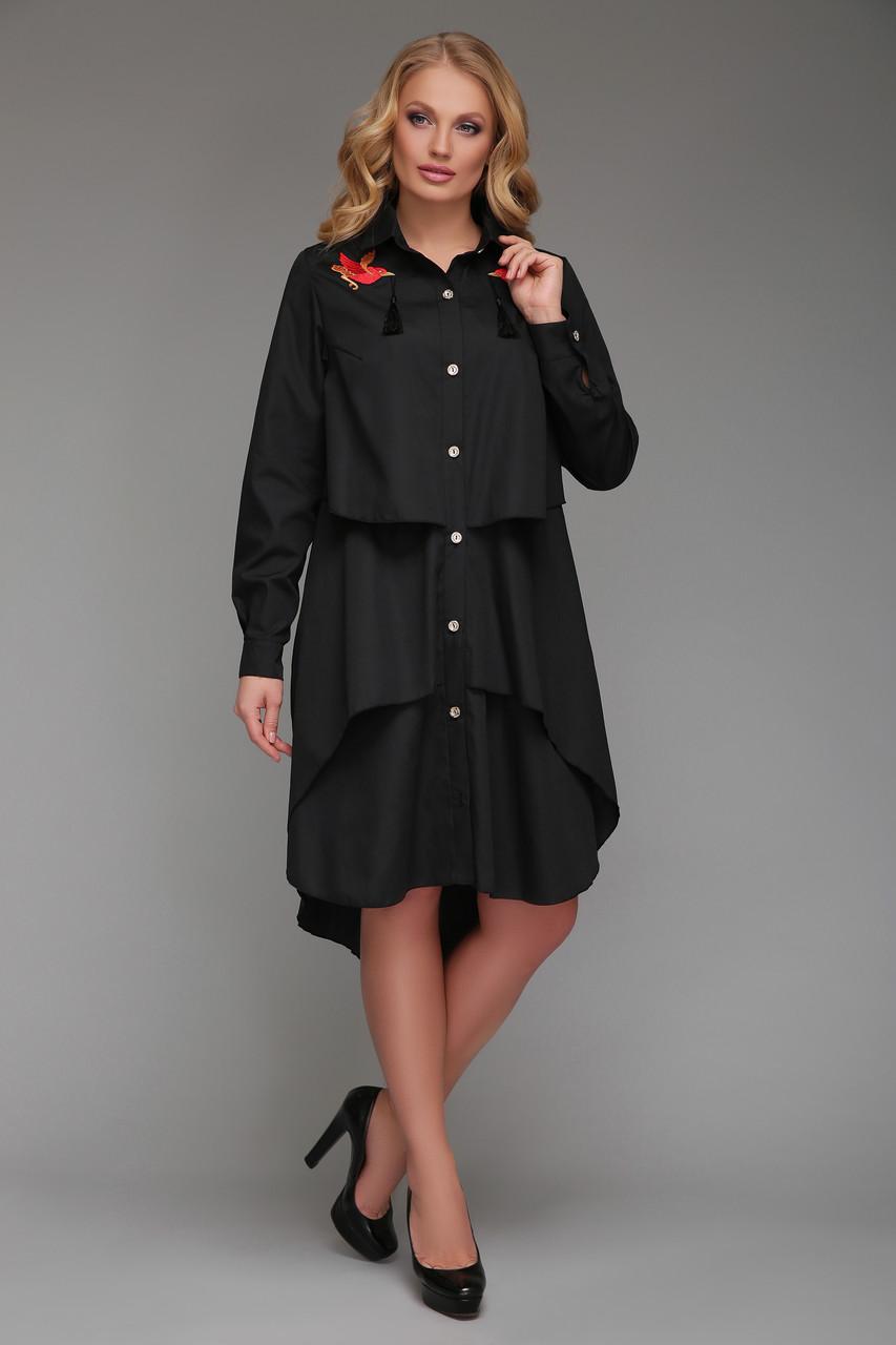 Платье-рубашка   Троя черного цвета