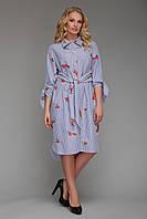 Платье рубашечного типа Эвита с вышивкой голубая полоска, фото 1