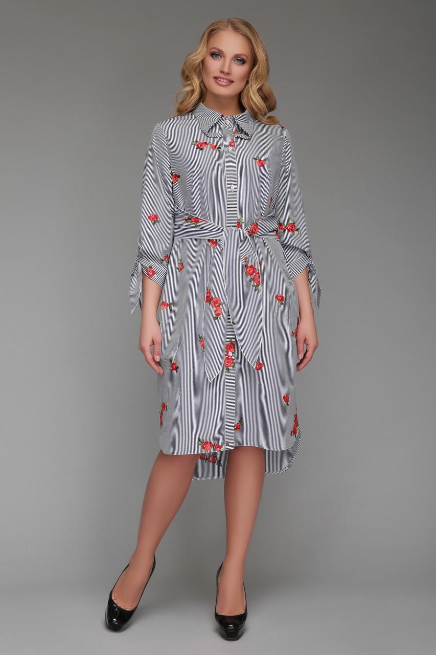 Платье-рубашка  женская Эвита с вышивкой черно-белое
