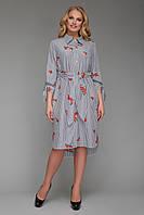 Платье-рубашка  женская Эвита с вышивкой черно-белое, фото 1