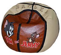 Бескаркасное мягкое Кресло-мяч пуф Том и Джерри