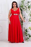 Женское вечернее длинное платье, с камнями и стразами на поясе, цвет красный