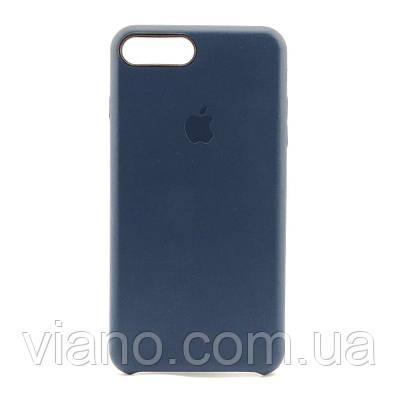 Кожаный чехол iPhone 7 Plus/8 Plus (Темно-синий) Apple leather case