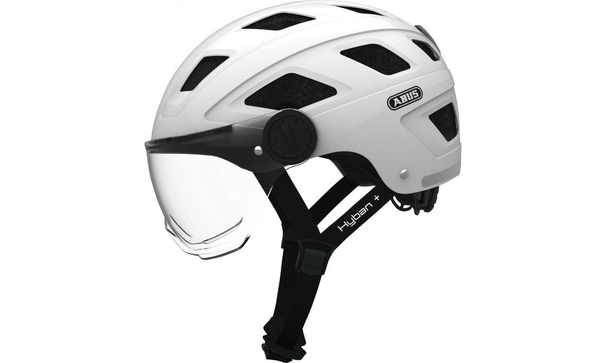 Велошолом ABUS HYBAN + smoke visor Cream White (M)