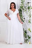 Женское нарядное платье в пол, из ткани масло,гипюр,атлас,сетка,шифон, цвет белый