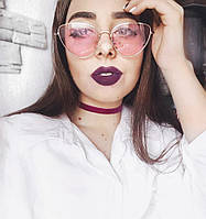 "Супер тренд сезона 2018 - очки ""кошачий глаз"", розовые линзы, серебристая оправа + чехол, фото 1"