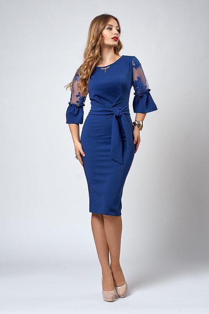 Женское нарядное платье с прозрачными рукавами