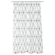 ФЕЛЯРЕН Штора для ванной, белый/черный/серый, 180x200 см 10346911 IKEA, ИКЕА, FÖLJAREN