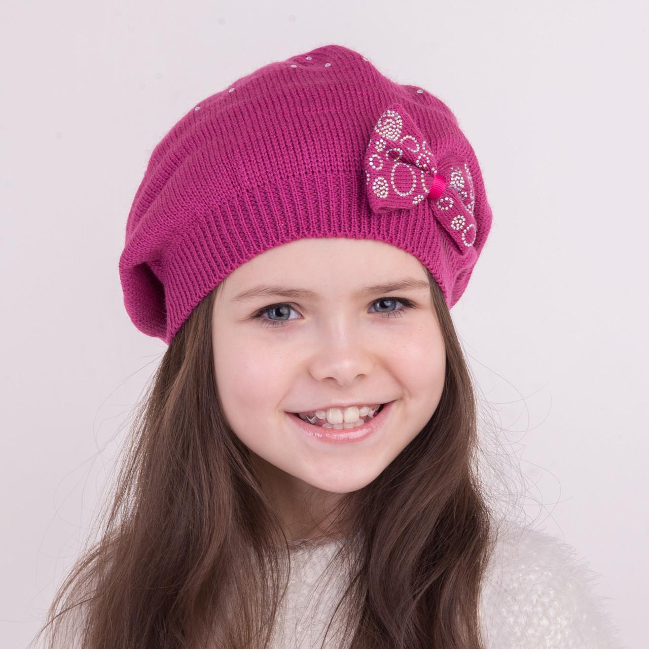 Вязаная шапка берет для девочки на весну - Артикул 0363