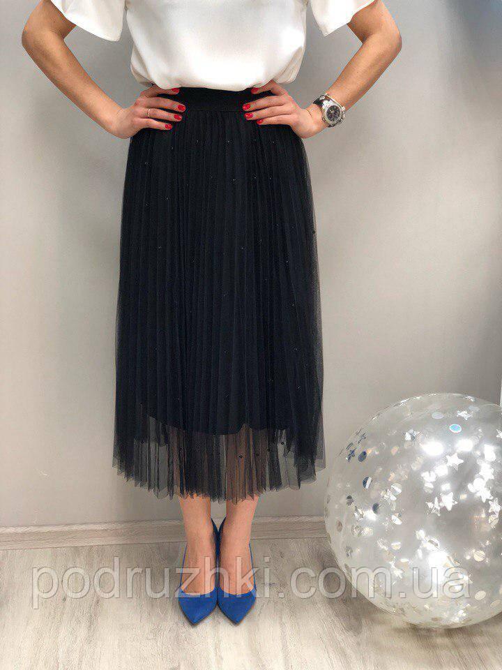 842f3c5dc4f Женская стильная плиссе юбка из фатина с жемчегом (3 цвета) -  Интернет-магазин