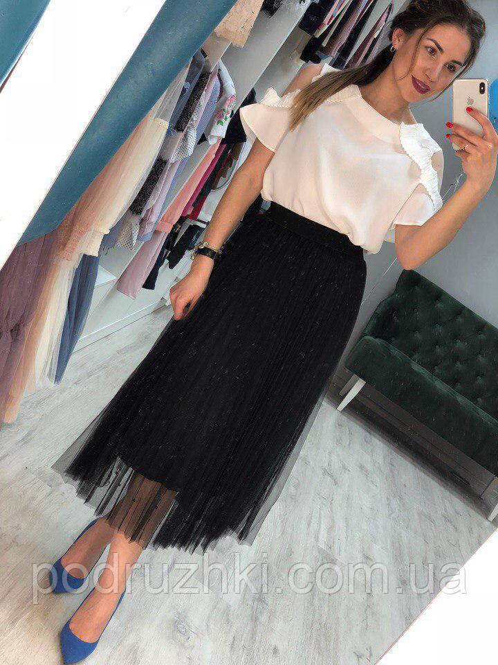 4d683834a59 Женская стильная плиссе юбка из фатина с жемчегом (3 цвета)