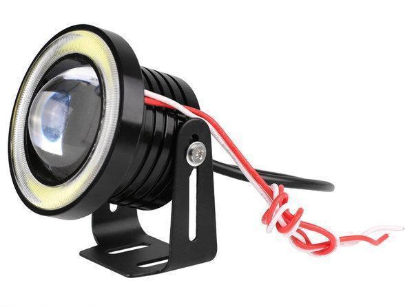 Противотуманные LED фары 10w, 76 мм с ангельскими глазками (2шт) Код.58919