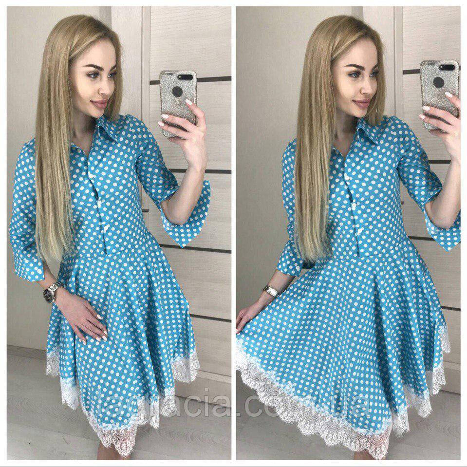 Модное летнее платье клеш из хлопка