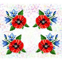 """Водорастворимый флизелин с рисунком """"Confetti"""" (K310 Маки и колокольчики)"""