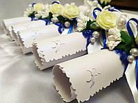 Свадебное приглашение Rose (синие с белым)
