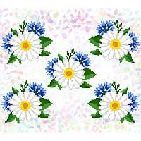 """Водорастворимый флизелин с рисунком """"Confetti"""" (K311 Ромашки и васильки)"""