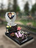 Памятник Лебедь с сердцем  с фото на керамике №1