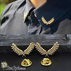 Брошь на воротник рубашки лист колос унисекс шпильки золотистый цвет для воротника