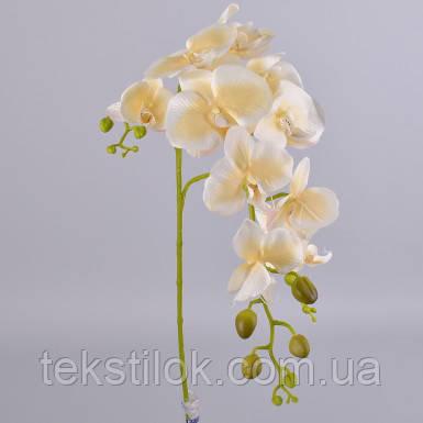 Орхидея на три ветки кремовая 120 см Цветы искусственные