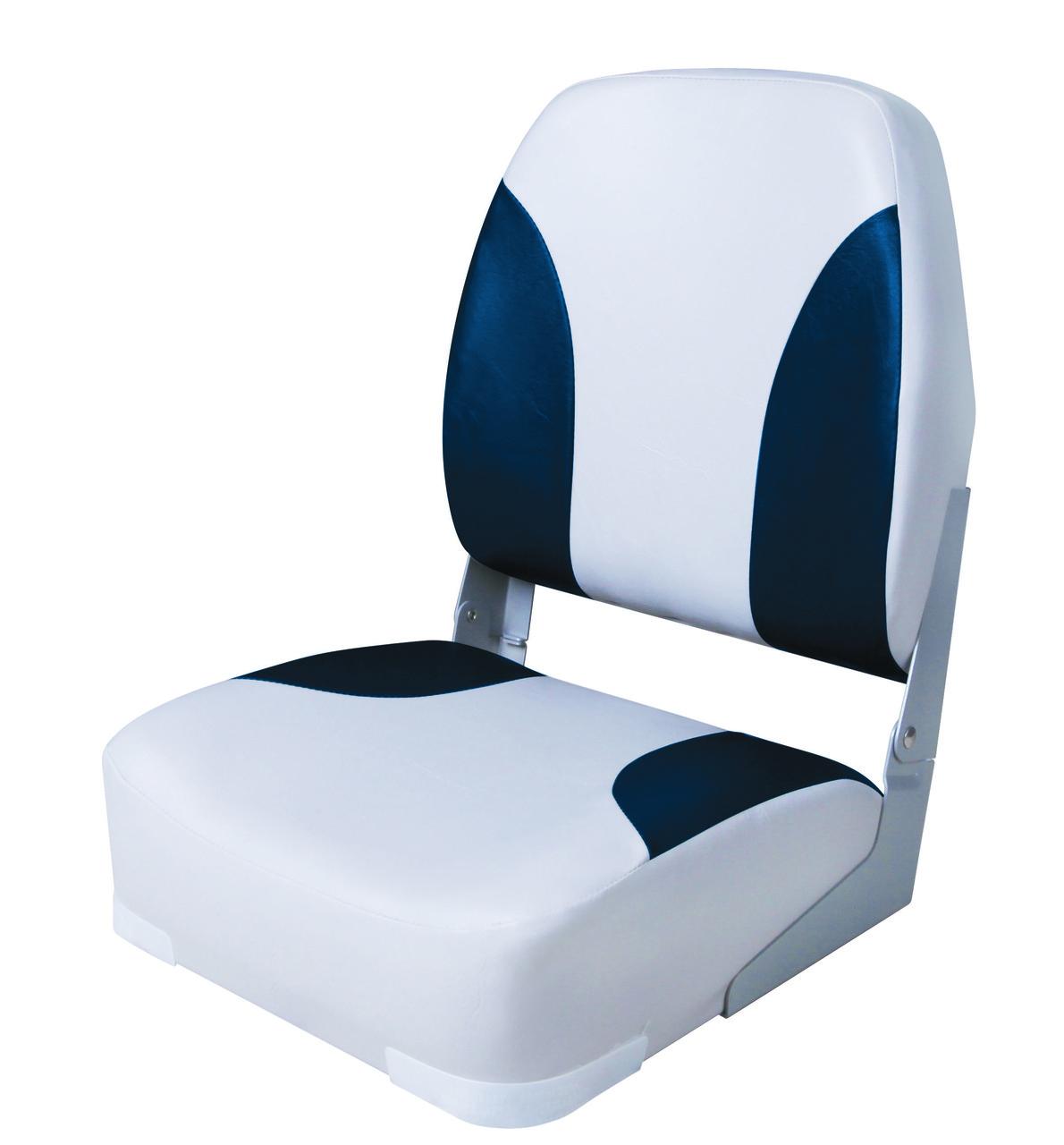 Сиденье для лодки, катера складное с высокой спинкой 75101GB серо-синее