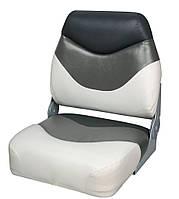 Сиденье для лодки, катера складное премиум, низкая спинка 75108WGC бело/серо/угольное