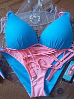 Комплект голубой с розовым купальник пуш-ап и платье-туника р.M-L