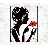 "Водорастворимый флизелин с рисунком ""Confetti"" (K321 Девочка с маком)"
