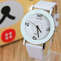 Часы женские Hongc наручные кварцевые с белым кожаным ремешком.