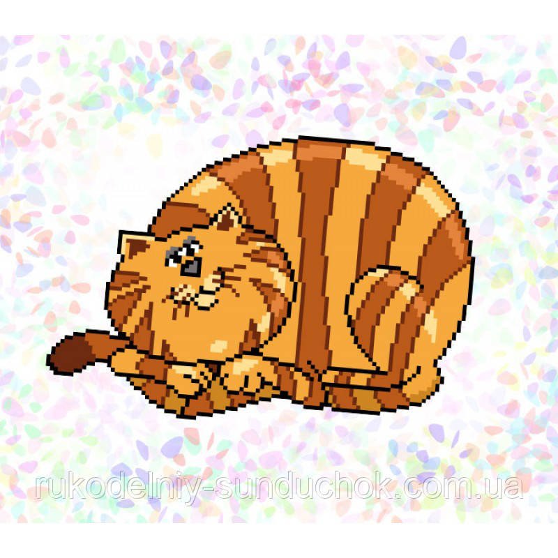 """Водорастворимый флизелин с рисунком """"Confetti"""" (K322 Полосатый кот)"""