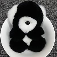 Брелок - Медведь черный натуральный мех кролика
