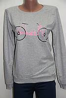 Свитшот женский батник серый с велосипедом Турция со склада 7км