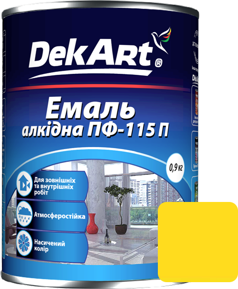 Емаль DekArt ПФ-115П жовта (0.9 кг)