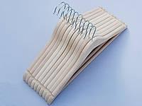 Плечики вешалки деревянные усиленные ECO светлые, 43,5 см, 10 штук в упаковке