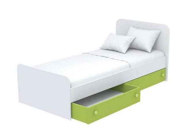 Кровать под матрас 900х1900 Кв-11-10 Акварели зеленые + ниши выдвижные Кв-15-10