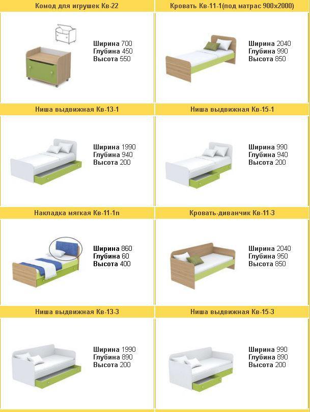Детская комната Акварели зеленые (ассортимент кроватей)