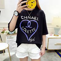 Женская свободная футболка Chnael Colette черная