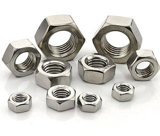 Гайка нержавеющая М1 DIN 934 (ГОСТ 5915-70, ГОСТ 5927-70) сталь А2 и А4