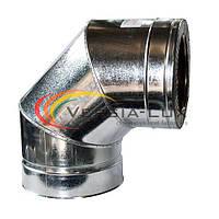 Колено дымоходное 90° нерж/оцинк 100/160мм