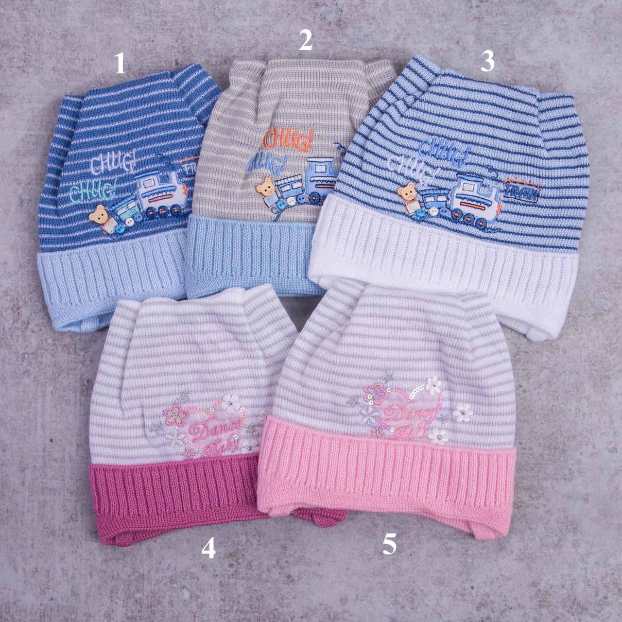 Весенняя вязаная шапка в полоску для девочки - Артикул 0910