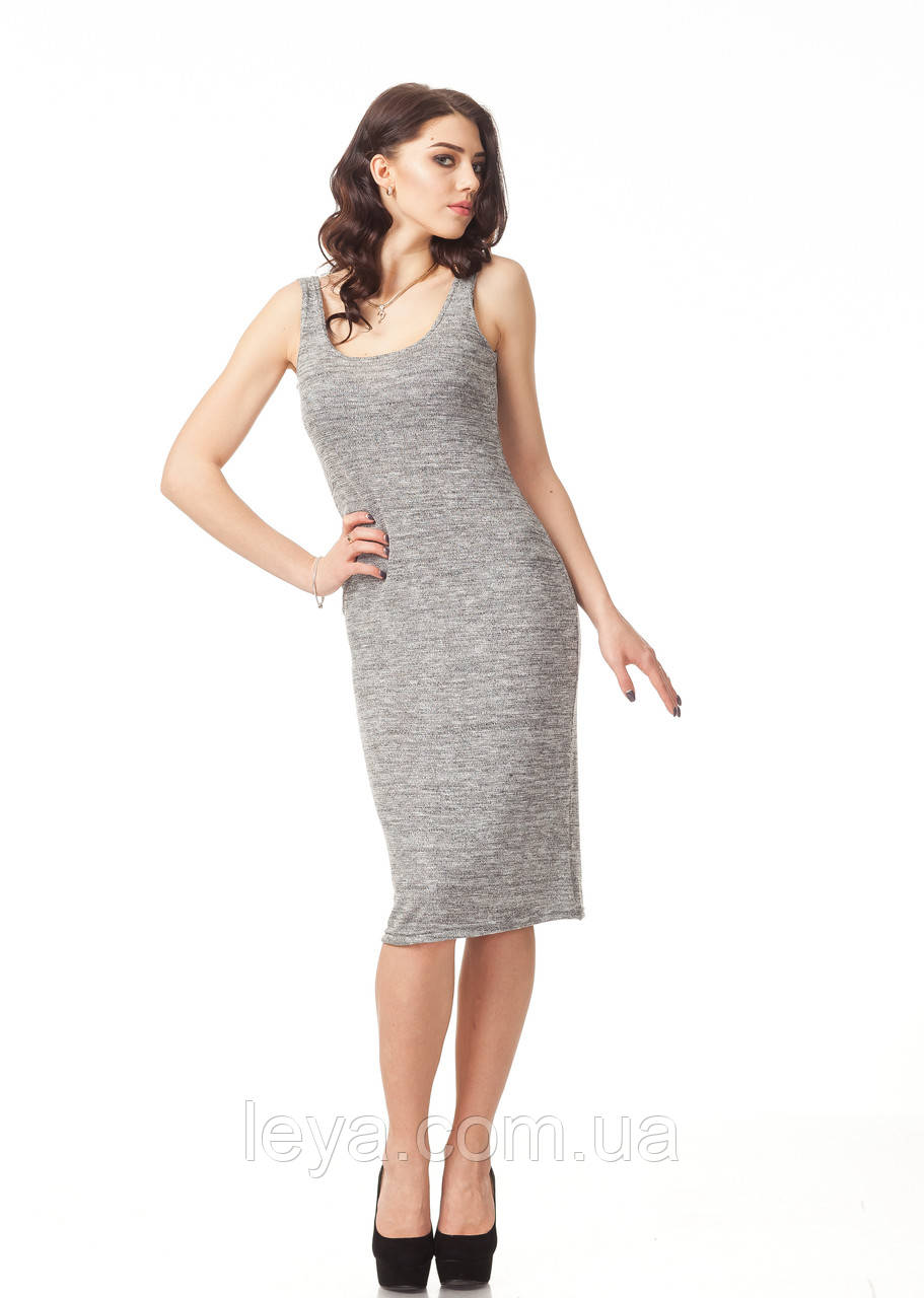 Летнее платье-майка вязаное. Модель П088_вязка серая.